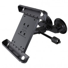 """Double Suction EFB Mount with Extension Arm and Tab Tite holder for 10"""" Tablets with Light Case/Skin"""